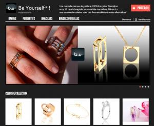 Homepage de la boutique eCommerce pour la marque Bijoux B.U