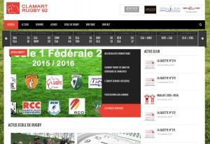 Capture d'écran du site web développé pour Clamart rugby 92