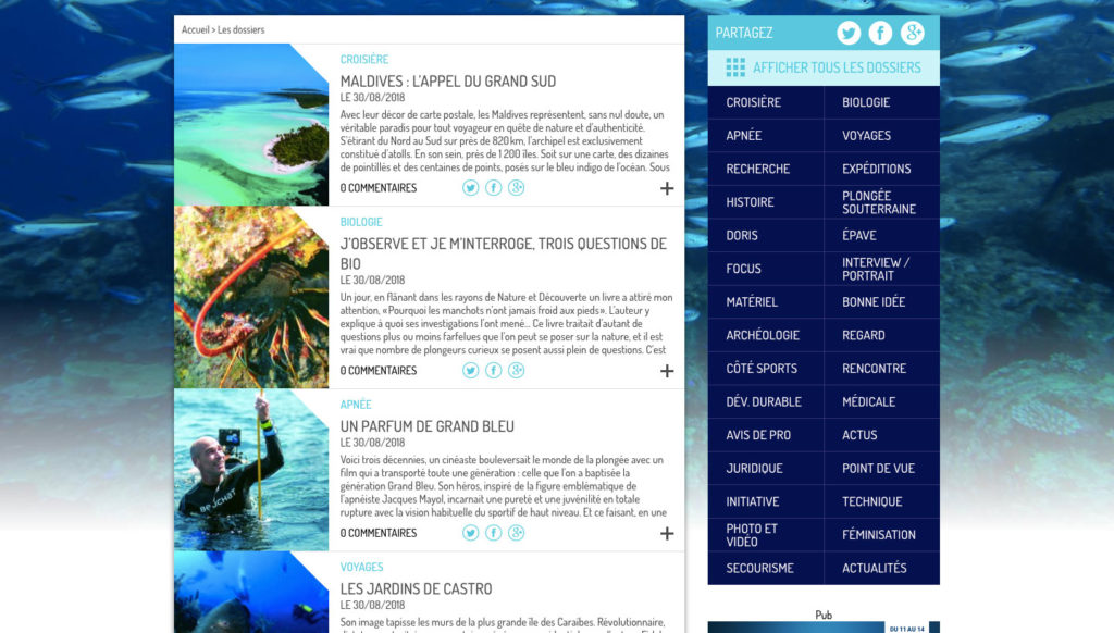 Diving in web - Gestion de projet web - Subaqua FFESSM