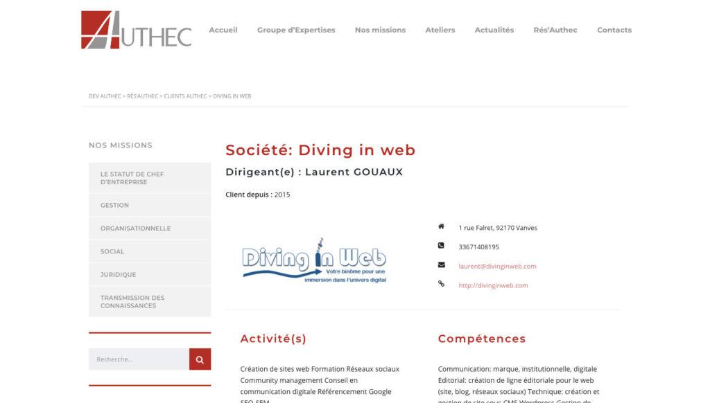 Diving in web - Refonte de site internet - Cabinet Expert Comptable Authec Vanves-Paris 2018