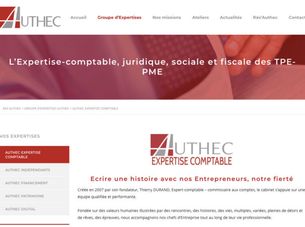 Diving in web - Refonte de site internet - Cabinet Expert Comptable Authec Vanves-Paris 2018