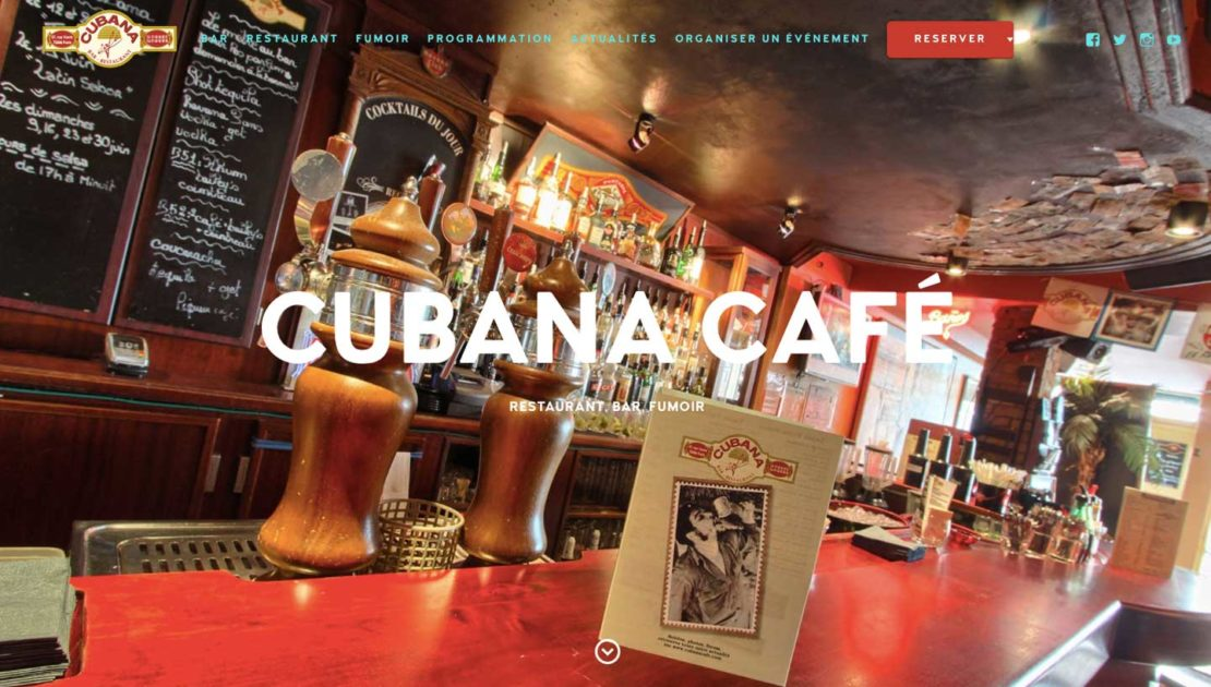 Diving in Web Refonte site internet Cubana Café Restaurant cubain Paris 2019