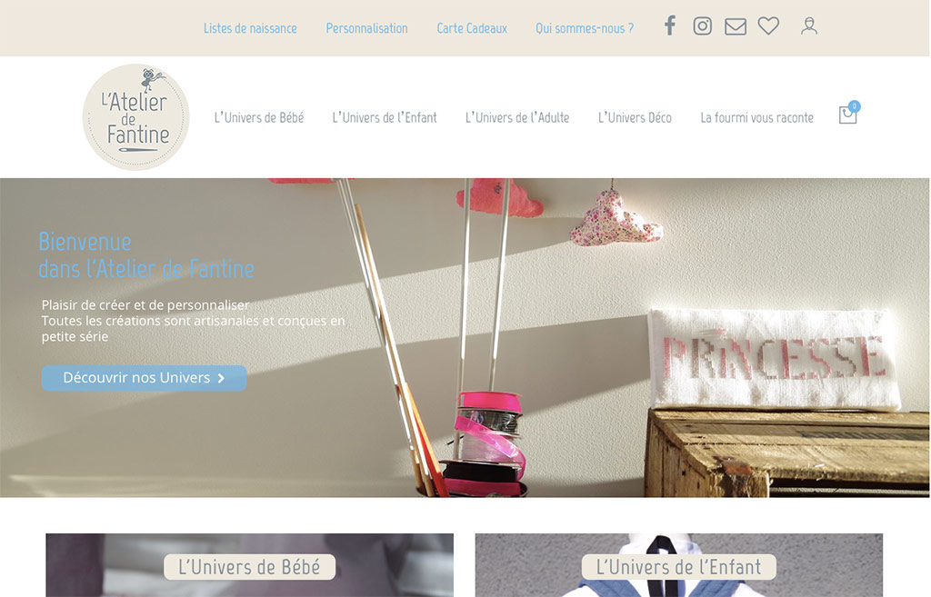 Diving in web - création de site ecommerce - L'Atelier de Fantine - Wordpress Woocommerce 2019