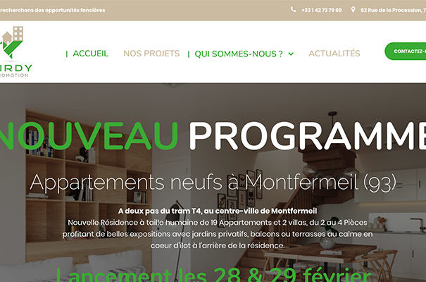 Diving in web - Création wordpress d'un promoteur immobilier parisien Birdy Promotion