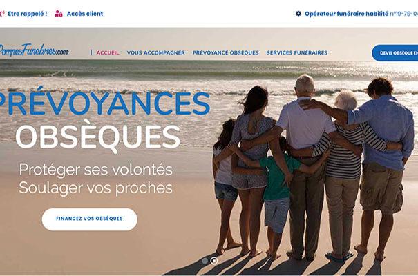 Diving in web Refonte de site wordpress pour Les Pompes Funèbres.com