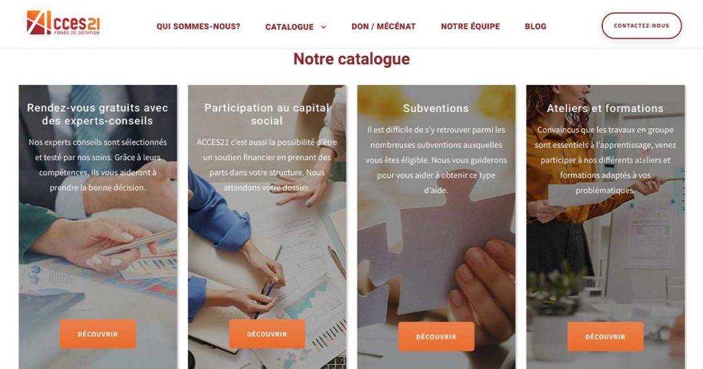 Diving in Web Acces21 Fonds de dotation - Création d'un site internet - Capture d'écran de la homepage avec les images des services