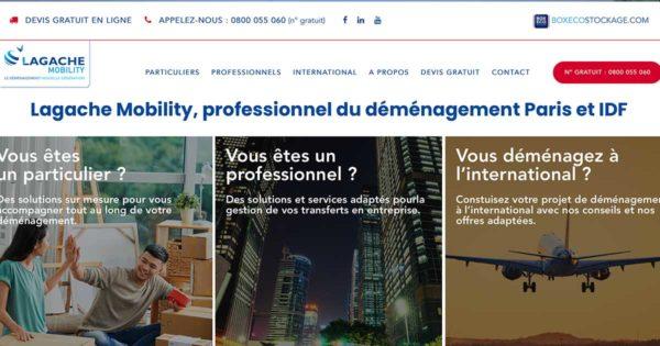 Diving in Web Refonte de site déménagement pour Lagache Mobility - Capture d'écran de la page d'accueil avec 3 photos