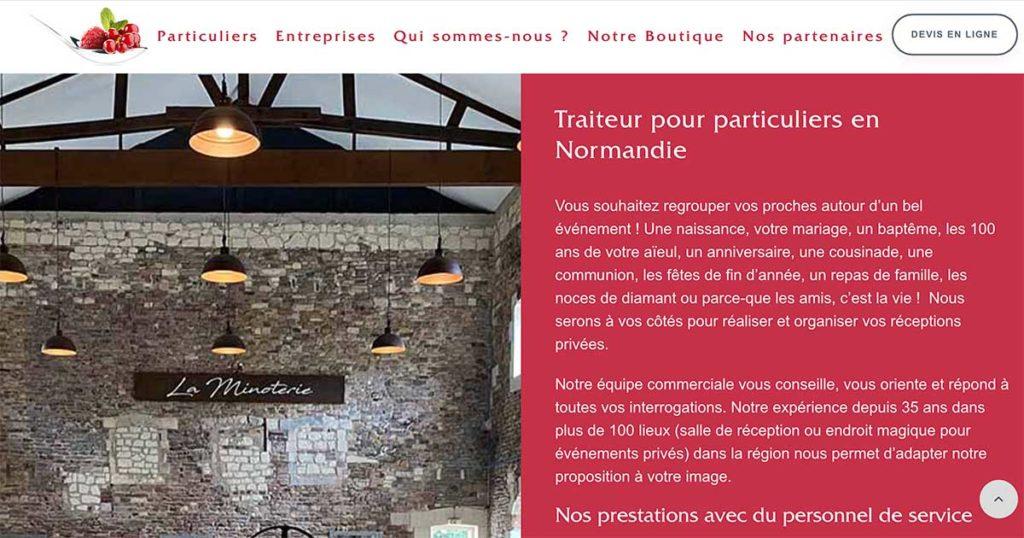 Diving in Web Refonte Wordpress traiteur - Ménard Traiteur Caen - Capture de la page d'accueil