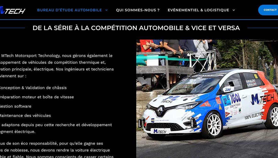 Diving in Web Refonte Wordpress ingénierie automobile - Capture de la page d'accueil