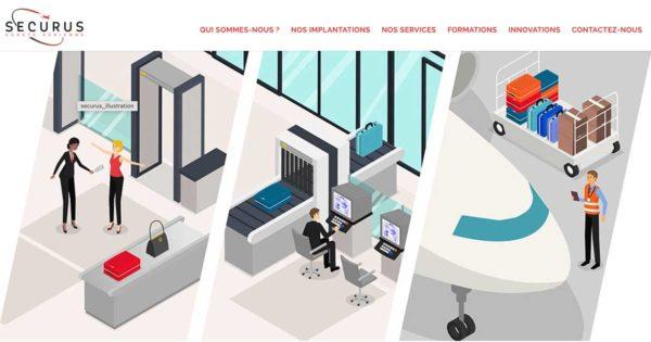 Diving in Web Création de site wordpress pour Securus - Capture d'écran de la page d'accueil avec une illustration des métiers