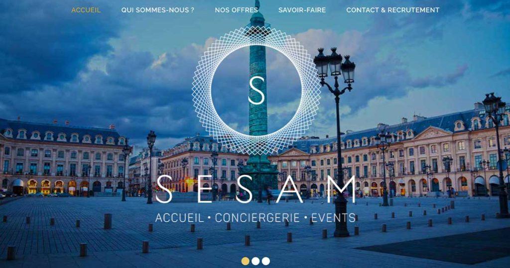 Diving in Web Refonte de site event pour SESAM Accueil - Capture d'écran de la homepage avec photo de la Place Vendôme à Paris, le logo et le menu