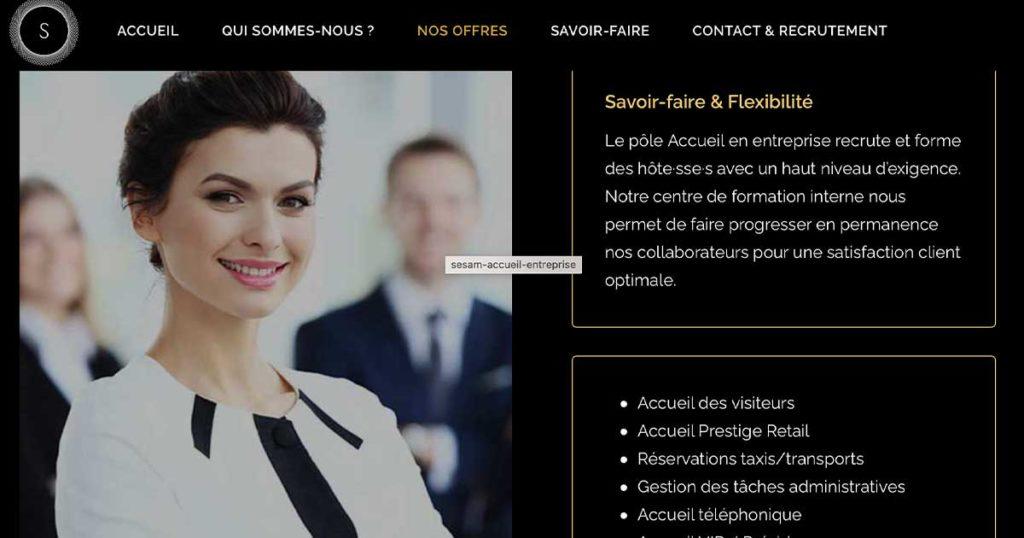 Diving in Web Refonte de site event pour SESAM Accueil - Capture d'une page avec une photo d'hôtesse d'accueil et texte