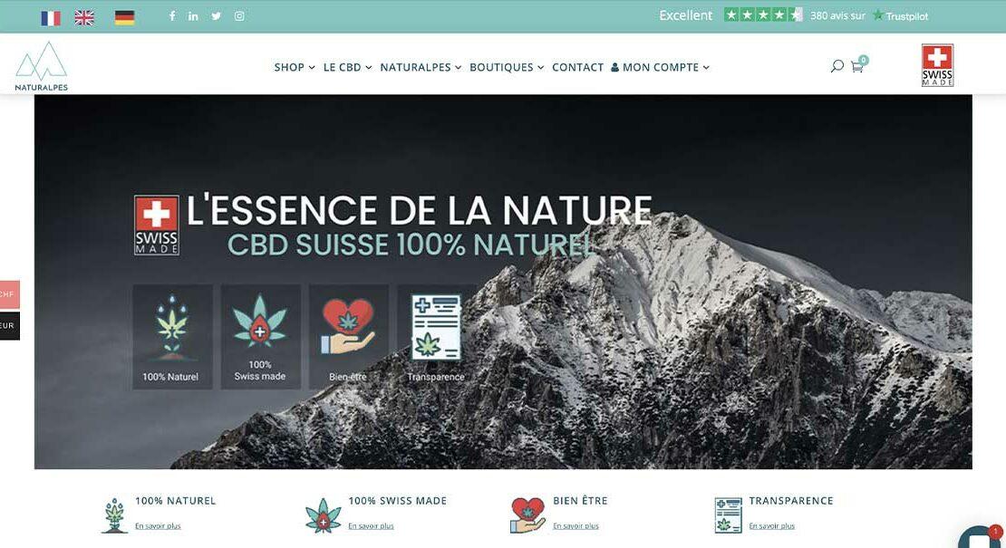 Diving in Web Refonte de site ecommerce Wordpress pour Naturalpes.ch - Capture d'écran de la page d'accueil