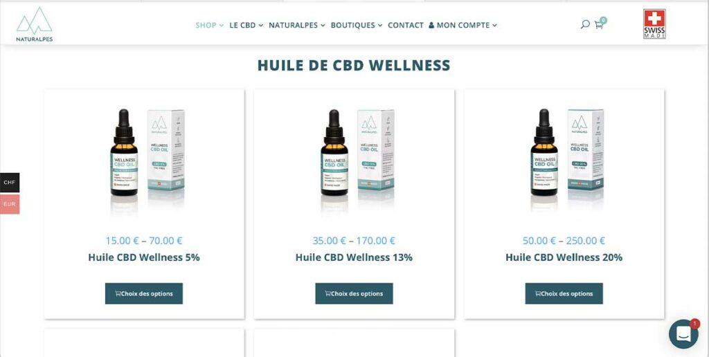 Diving in Web Refonte de site ecommerce Wordpress pour Naturalpes.ch - Capture d'écran de la page Huiles CBD