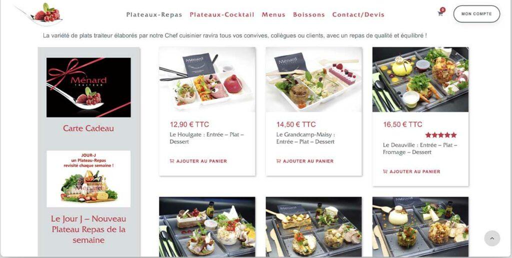 Diving in Web Refonte ecommerce Plateau Repas Caen - Capture de la page plateaux repas