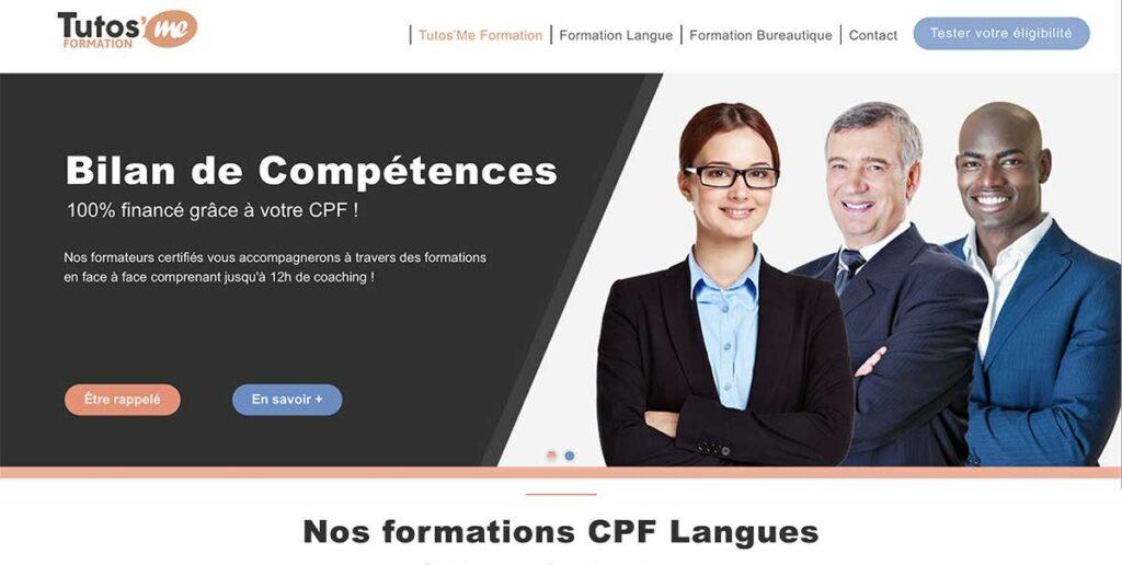 Diving in Web Refonte de site wix pour Tutos'me Formation - Capture d'écran de la homepage