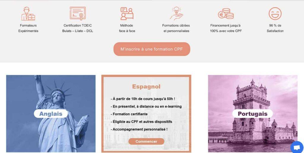 Diving in Web Refonte de site wix pour Tutos'me Formation - Capture d'écran de la page formations langues