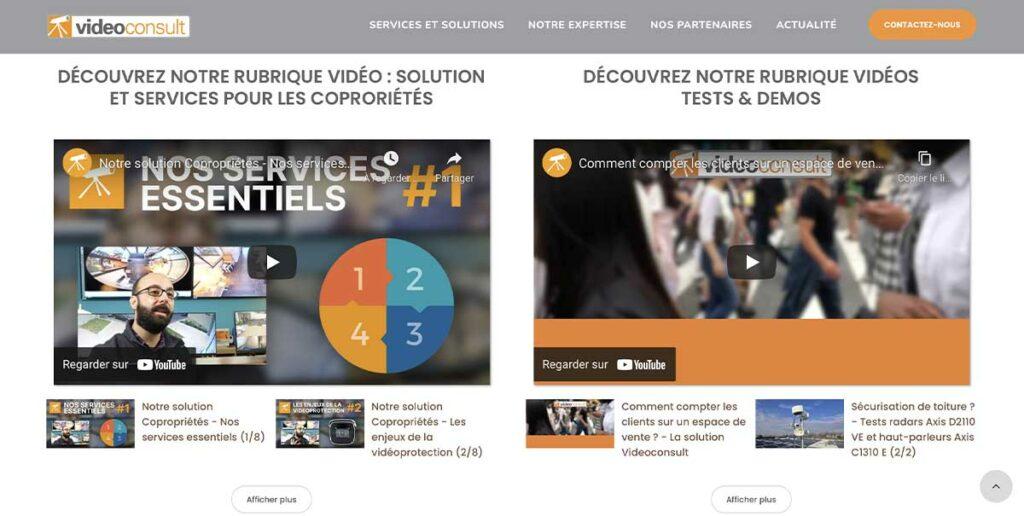 Diving in Web Refonte de site Google pour VideoConsult - Capture d'écran des vidéos youtube